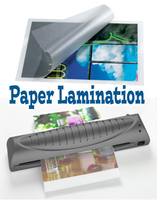 lamination paper Use our laminating pouches with a pouch laminator to seal and protect paper projects available in 3 mil, 5 mil, 7 mil or 10 mil in either a gloss or matte finish.